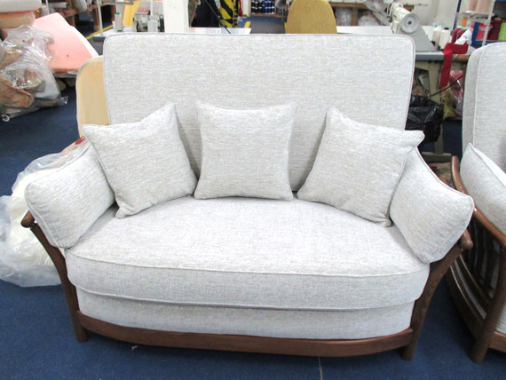 A customer's re-upholstered Ercol sofa ready to be returned