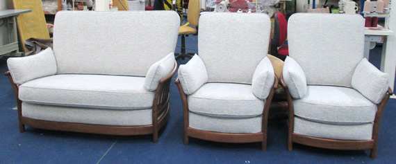 The same Ercol sofa and two matching armchairs ready for dispatch
