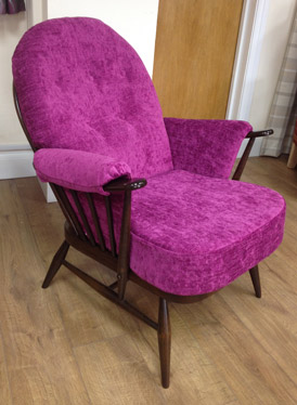 A re-upholstered Ercol chair in a modern chenille fabric