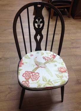 Ercol dining chair re-upholstery in a traditional fabric design