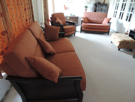 The complete re-upholstered Ercol suite in situ