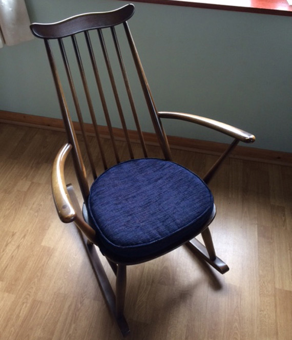Even upholstery for an Ercol rocking chair is no problem!