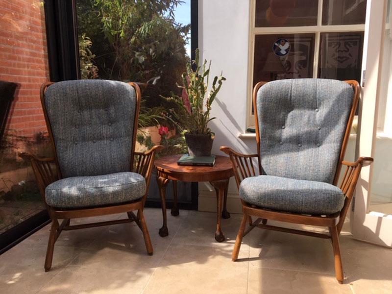 The same Ercol Chair has been transformed with new cushions