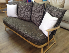 A tranformed Ercol 3-seater sofa and back cushions
