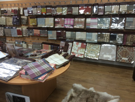Thousands of upholstery fabrics on display