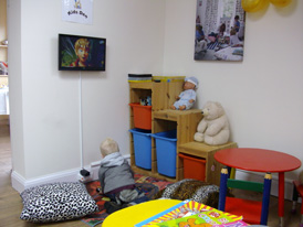 You can leave children to play safely in our 'Kid's Corner'!